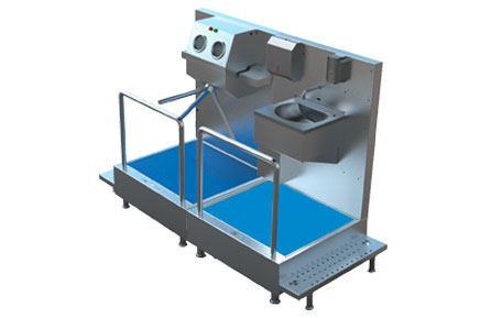 HB1020 - Disinfection System For Manual Hand Washing/Drying, Shoe Disinfection With Mat and Hand Disinfection With Turnstile 3